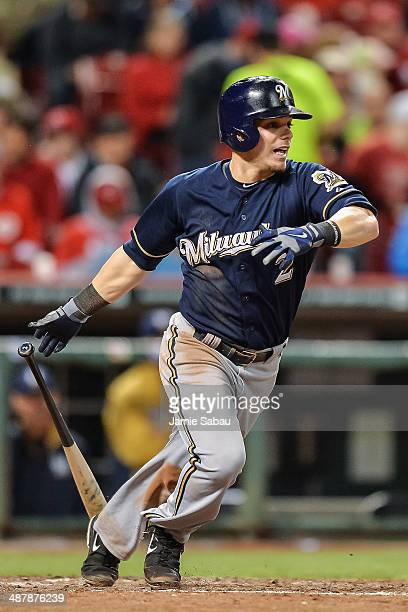 Scooter Gennett of the Milwaukee Brewers bats against the Cincinnati Reds at Great American Ball Park on May 1 2014 in Cincinnati Ohio