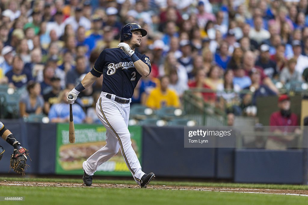 <a gi-track='captionPersonalityLinkClicked' href=/galleries/search?phrase=Scooter+Gennett&family=editorial&specificpeople=5502894 ng-click='$event.stopPropagation()'>Scooter Gennett</a> #2 of the Milwaukee Brewers hits a home run against the Pittsburg Pirates at Miller Park on August 23, 2014 in Milwaukee, Wisconsin.
