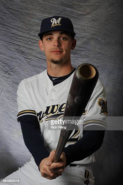 Scooter Gennett of the Milwaukee Brewers poses for a portrait during Photo Day on February 27 2015 at Maryville Baseball Park in Maryvale Arizona