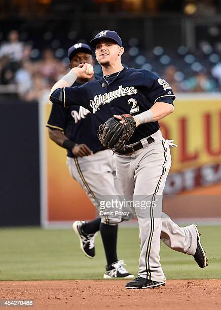 Scooter Gennett of the Milwaukee Brewers throws to first base to get the out on Odrisamer Despaigne of the San Diego Padres during the third inning...