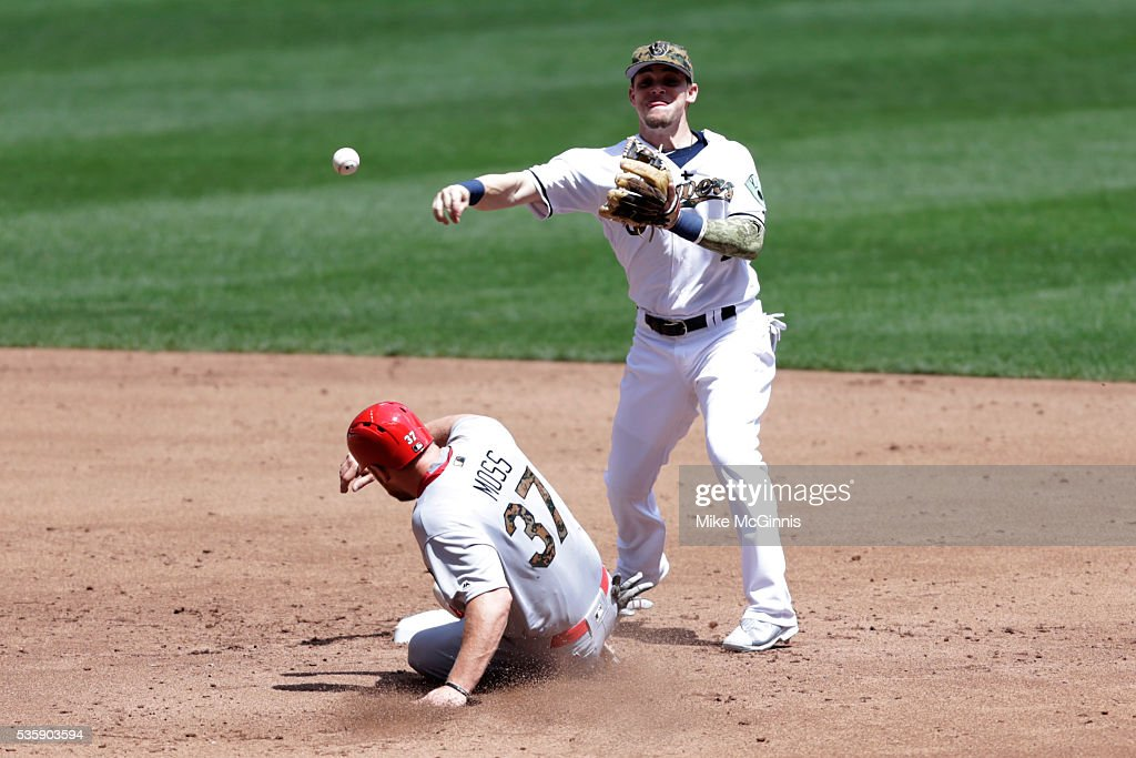 <a gi-track='captionPersonalityLinkClicked' href=/galleries/search?phrase=Scooter+Gennett&family=editorial&specificpeople=5502894 ng-click='$event.stopPropagation()'>Scooter Gennett</a> #2 of the Milwaukee Brewers turns the double play as Brandon Moss #37 of the St. Louis Cardinals slides into second base during the third inning at Miller Park on May 30, 2016 in Milwaukee, Wisconsin.