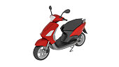 Scooter motorcycle, moped isolated on white background, 3D illustration