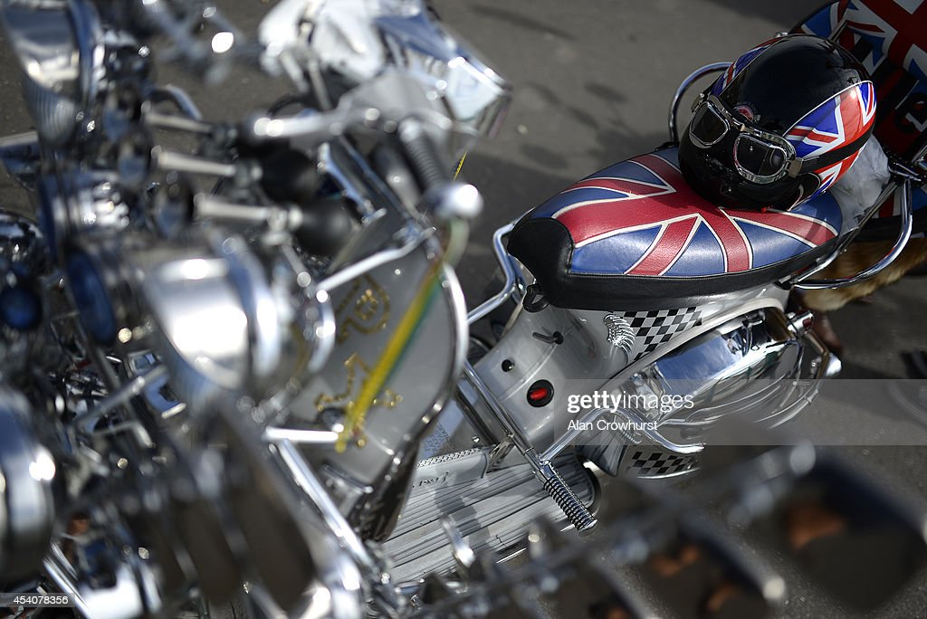 A scooter on display during the Brighton Mod weekender on August 24, 2014 in Brighton, England. This August Bank holiday will see many Mods and their scooters return to their spiritual home of Brighton for the Mod Weekender event.