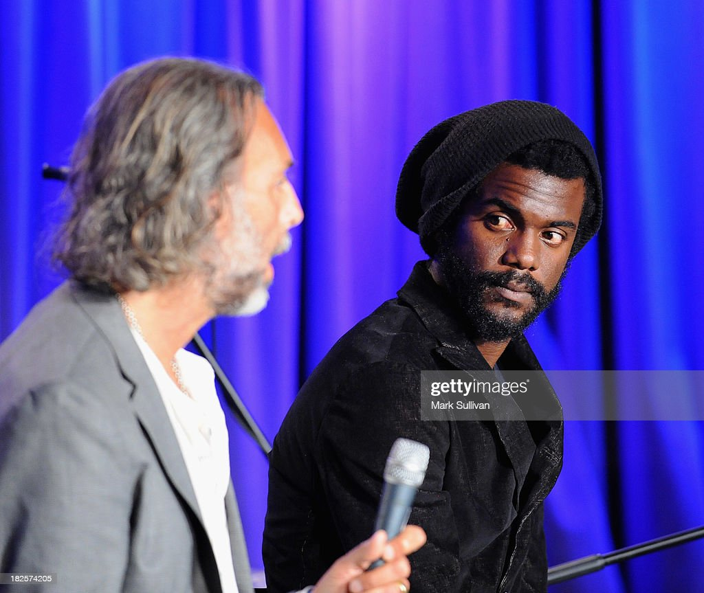 Scooter Weintraub (L) and Gary Clark Jr. onstage during An Evening With Gary Clark Jr. at The GRAMMY Museum on September 30, 2013 in Los Angeles, California.