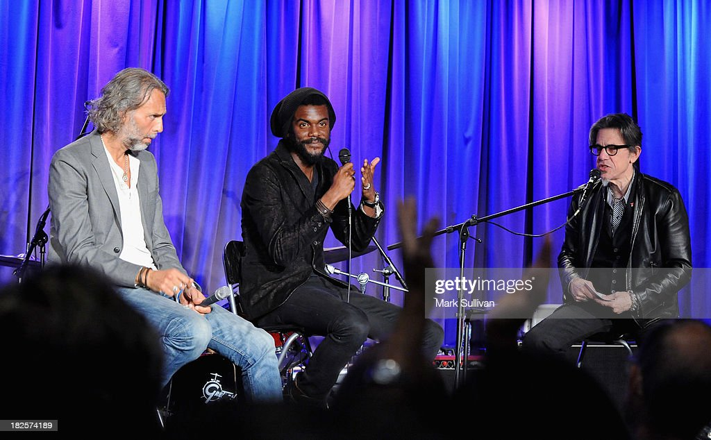 Scooter Weintraub, Gary Clark Jr. and Vice President of the GRAMMY Foundation Scott Goldman onstage during An Evening With Gary Clark Jr. at The GRAMMY Museum on September 30, 2013 in Los Angeles, California.