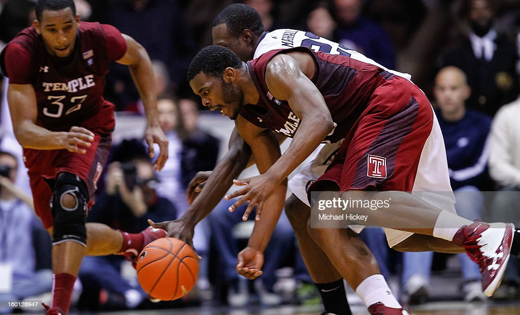 Scootie Randall #33 of the Temple Owls chases down a loose ball against the Butler Bulldogs at Hinkle Fieldhouse on January 26, 2013 in Indianapolis, Indiana. Butler defeated Temple 83-71.