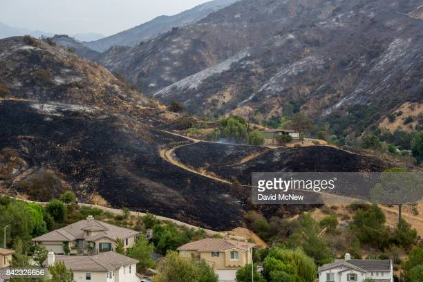 Scorched terrain sits behind houses that were untouched by the La Tuna Fire on September 3 2017 near Burbank California At nearly 6000 acres the fire...