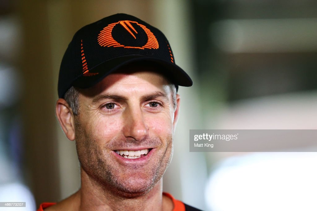 Scorchers captain <a gi-track='captionPersonalityLinkClicked' href=/galleries/search?phrase=Simon+Katich&family=editorial&specificpeople=176577 ng-click='$event.stopPropagation()'>Simon Katich</a> speaks to the media during a Perth Scorchers Big Bash League press conference at Sydney Cricket Ground on February 4, 2014 in Sydney, Australia.