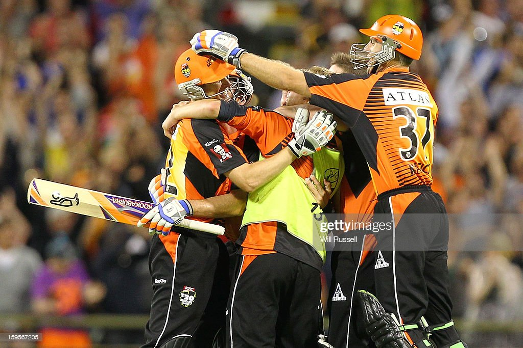 Scorchers celebrate their team's victory during the Big Bash League semi-final match between the Perth Scorchers and the Melbourne Stars at the WACA on January 16, 2013 in Perth, Australia.
