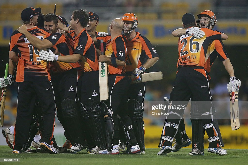 Scorchers celebrate winning the Big Bash League match between the Brisbane Heat and the Perth Scorchers at The Gabba on December 18, 2012 in Brisbane, Australia.