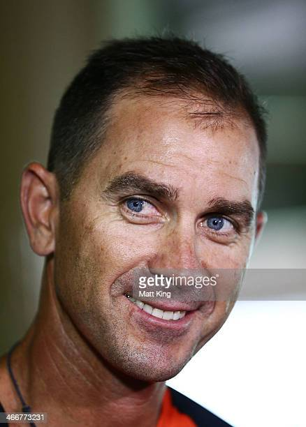 Scorchers coach Justin Langer speaks to the media during a Perth Scorchers Big Bash League press conference at Sydney Cricket Ground on February 4...