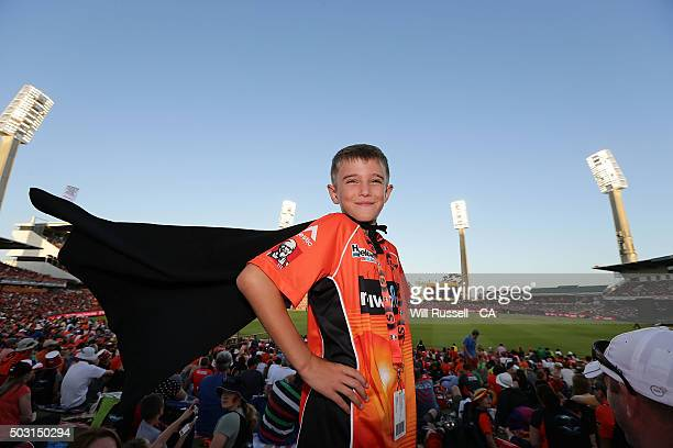 Scorchers fan wears a super hero cape during the Big Bash League match between Perth Scorchers and Sydney Sixers at WACA on January 2 2016 in Perth...