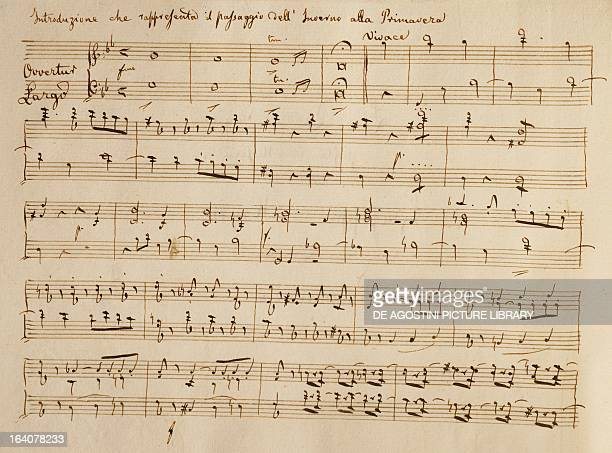 Score for the overture of La Primavera by Franz Joseph Haydn 1801 Vicenza Biblioteca Civica Bertoliana