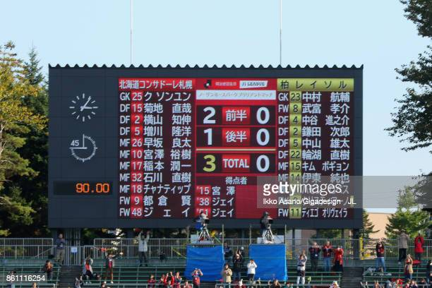 Scoreboard after the JLeague J1 match between Consadole Sapporo and Kashiwa Reysol at Sapporo Atsubetsu Stadium on October 14 2017 in Sapporo...