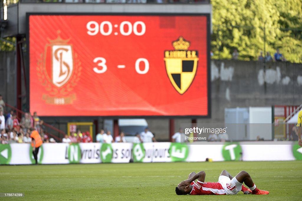 scoreboard and Michy Batshuayi of Standard pictured during the Jupiler League match between Standard Liege and SK Lierse on Augustus 4, 2013 in Liege, Belgium. (Photo by Vincent Kalut & Jimmy Bolcina / Photonews
