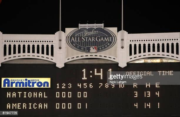 Scoreboard at the end of the 79th MLB AllStar Game at Yankee Stadium on July 15 2008 in the Bronx borough of New York City