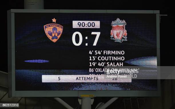 Scoreboard at the end of the UEFA Champions League group E match between NK Maribor and Liverpool FC at Stadion Ljudski vrt on October 17 2017 in...