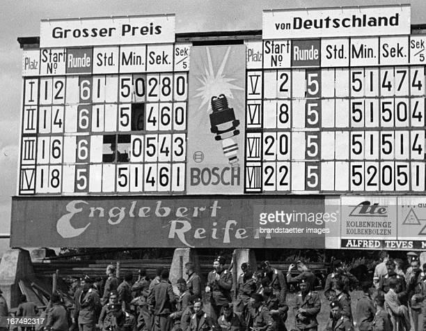 Scoreboard at the Grand Prix of Germany at the Nürburgring 1937 Photograph Anzeigetafel beim Großen Preis von Deutschland am Nürburgring 1937...