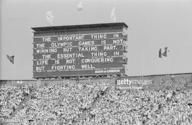 A scoreboard bearing a quote by founder of the modern olympics Pierre de Coubertin at the opening ceremony of the Olympic Games Wembley Stadium...