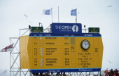 A scoreboard displays a congratulatory message to Phil Mickelson of the United States after he won the 142nd Open Championship at Muirfield on July...