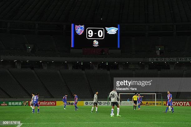 A scoreboard during the AFC Champions League playoff round match between FC Tokyo and Chonburi FC at the Tokyo Stadium on February 9 2016 in Chofu...