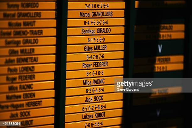 Scoreboard is seen on day five of the Wimbledon Lawn Tennis Championships at the All England Lawn Tennis and Croquet Club on June 27 2014 in London...