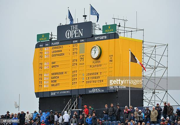 Scoreboard over the 18th green displays the final scores on day five of the 2015 British Open Golf Championship on The Old Course at St Andrews in...