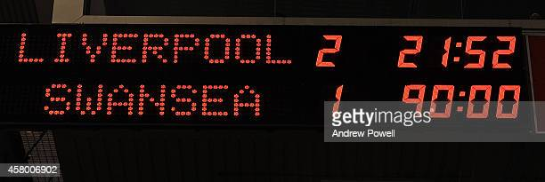 Scoreboard showing the final scoreline at the end of the Capital One Cup Fourth Round match between Liverpool and Swansea City at Anfield on October...