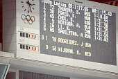 A scoreboard shows the leaders for the women's 1000m competition at MWave during the 1998 Winter Olympics games