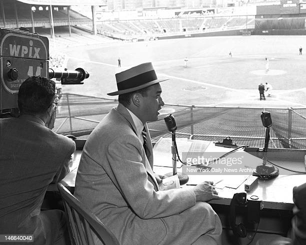 Scorecard and player roster are laid out before Mel Allen as he broadcasts a game over WPIX from booth in Yankee Stadium Allen is the man who came to...