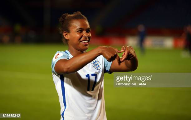 Scorer of the winning goal Nikita Parris of England Women celebrates at the end of the UEFA Women's Euro 2017 match between Portugal and England at...