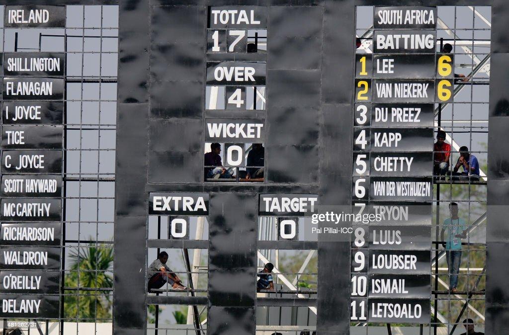 Scorers are seen through the score board during the ICC Women's world twenty20 match between South Africa Women and Ireland Women played at Sylhet International Cricket Stadium on March 29, 2014 in Sylhet, Bangladesh.
