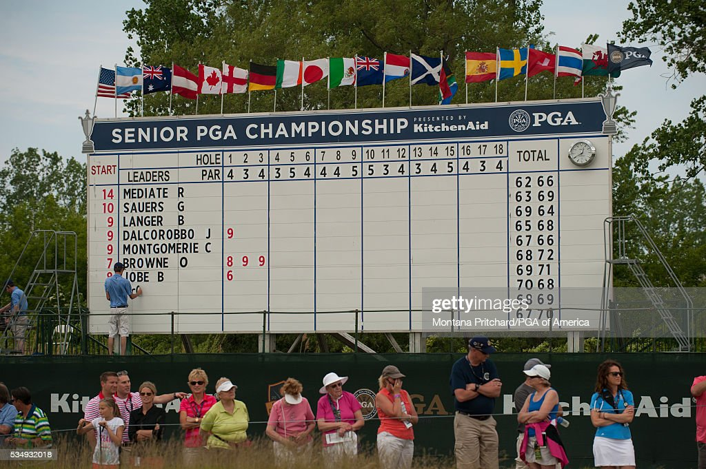 Scoring during the third round for the 77th Senior PGA Championship presented by KitchenAid held at Harbor Shores Golf Club on May 28, 2016 in Benton Harbor, Michigan.