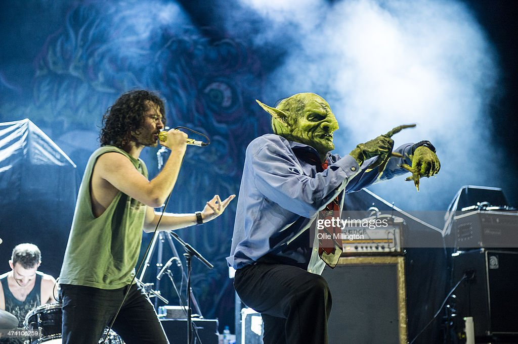 Scorpion and John Goblikon of Nekrogoblikon perform on the last night of the Kerrang Tour onstage at Brixton Academy on February 21, 2014 in London, United Kingdom.