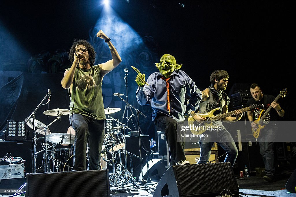 Scorpion, John Goblikon, Alex Alereza and Eddie Tragger of Nekrogoblikon perform on the last night of the Kerrang Tour onstage at Brixton Academy on February 21, 2014 in London, United Kingdom.