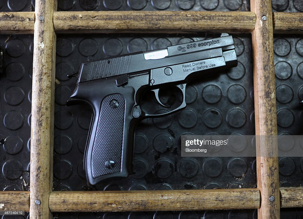 Scorpion semiautomatic handgun manufactured by Zastava Arms sits on the production line at the Zastava Oruzje AD firearms factory in Kragujevac...