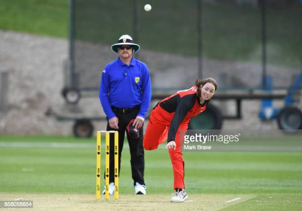Scorpions Amanda Wellington bowls during the WNCL match between South Australia and Western Australia at Adelaide Oval No2 on October 6 2017 in...
