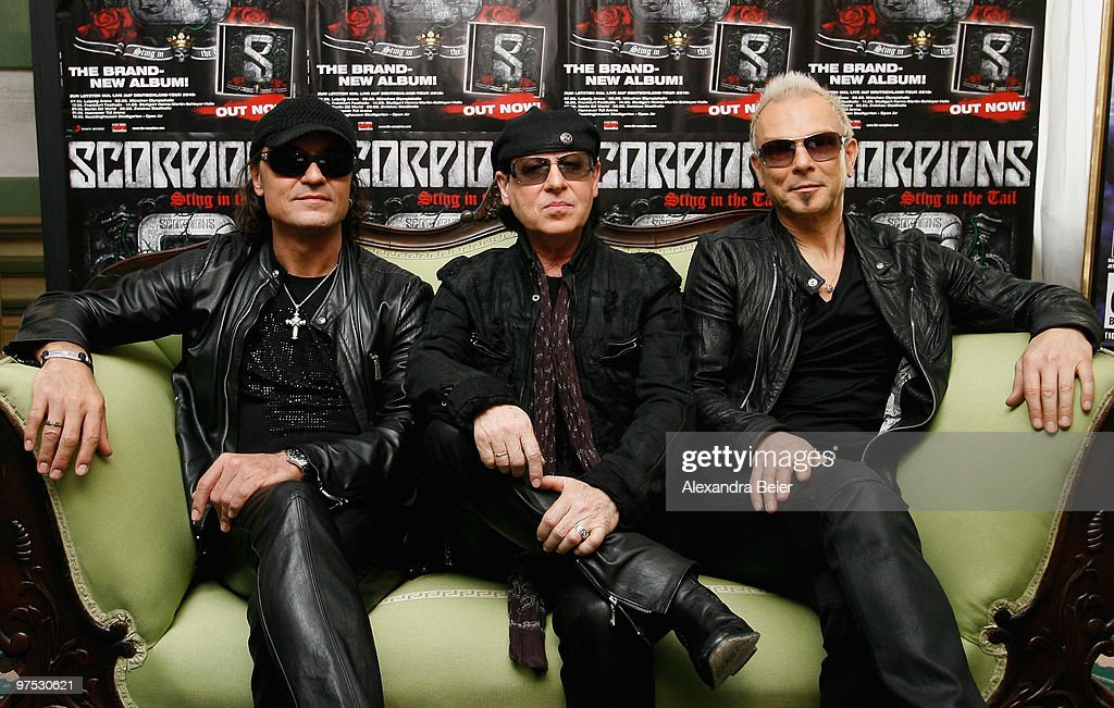 Scorpions band members <a gi-track='captionPersonalityLinkClicked' href=/galleries/search?phrase=Matthias+Jabs&family=editorial&specificpeople=710280 ng-click='$event.stopPropagation()'>Matthias Jabs</a>, <a gi-track='captionPersonalityLinkClicked' href=/galleries/search?phrase=Klaus+Meine&family=editorial&specificpeople=240345 ng-click='$event.stopPropagation()'>Klaus Meine</a> and <a gi-track='captionPersonalityLinkClicked' href=/galleries/search?phrase=Rudolf+Schenker&family=editorial&specificpeople=710263 ng-click='$event.stopPropagation()'>Rudolf Schenker</a> (L-R) pose for photographers after a news conference to present their upcoming 'Sting in the Tail' album and 'Get Your Sting and Blackout' world tour on March 8, 2010 in Munich, Germany.