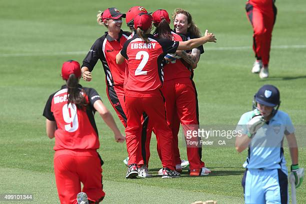 Scorpions celebrate a wicket during the WNCL Final match between the New South Wales and South Australia at Hurstville Oval on November 29 2015 in...
