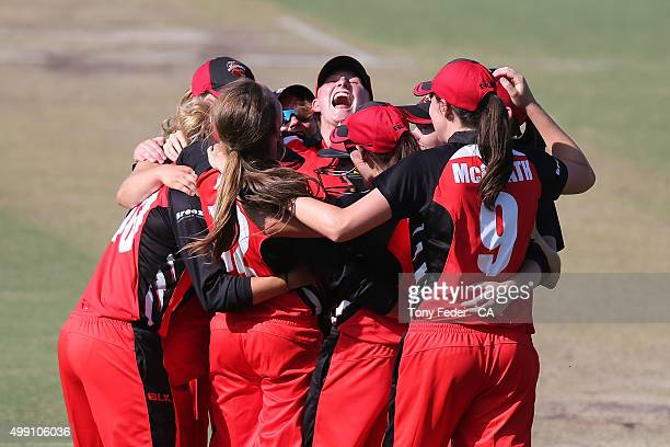Scorpions celebrate after winning the final during the WNCL Final match between the New South Wales and South Australia at Hurstville Oval on...