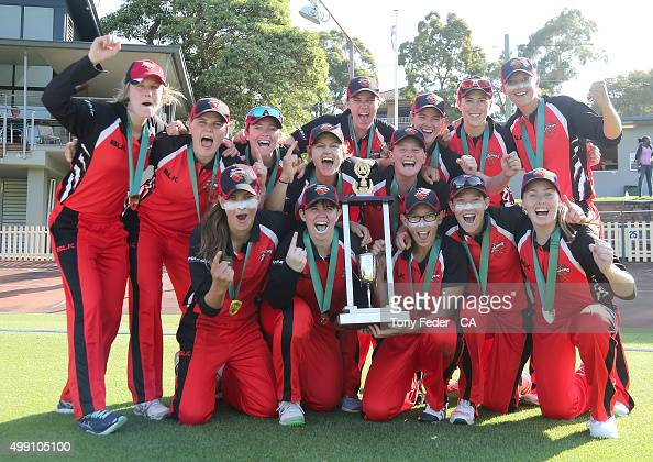 Scorpions celebrate with the winners trophy during the WNCL Final match between the New South Wales and South Australia at Hurstville Oval on...