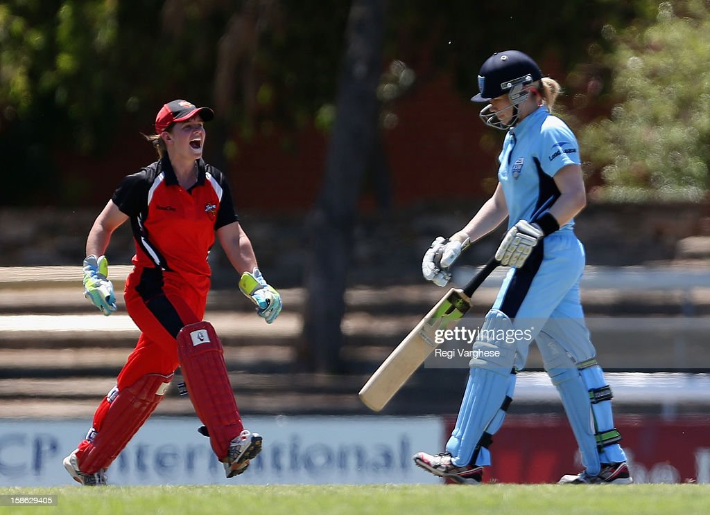Scorpions wicket keeper Tegan McPharlin celebrates the wicket of <a gi-track='captionPersonalityLinkClicked' href=/galleries/search?phrase=Alex+Blackwell&family=editorial&specificpeople=198941 ng-click='$event.stopPropagation()'>Alex Blackwell</a> during the WNCL match between the South Australia Scorpions and the New South Wales Breakers at Prospect Oval on December 22, 2012 in Adelaide, Australia.