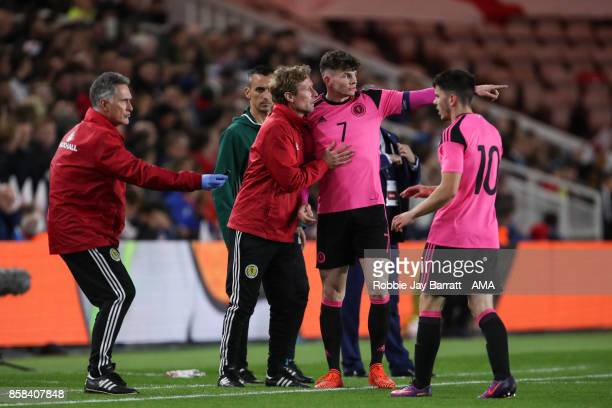 Scot Gemmill manager / Head Coach of Scotland and Oliver Burke of Scotland U21 during the UEFA European Under 21 Championship Qualifiers fixture...
