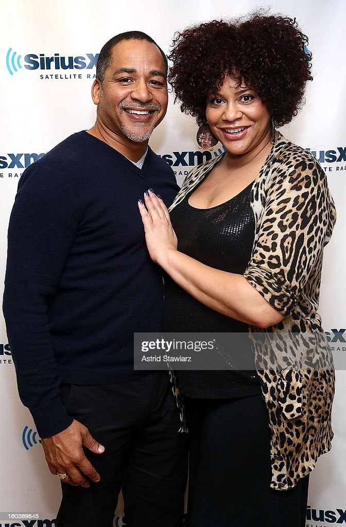 Scotch Ellis Loring and <a gi-track='captionPersonalityLinkClicked' href=/galleries/search?phrase=Kim+Coles&family=editorial&specificpeople=984385 ng-click='$event.stopPropagation()'>Kim Coles</a> visit the SiriusXM Studios on January 30, 2013 in New York City.