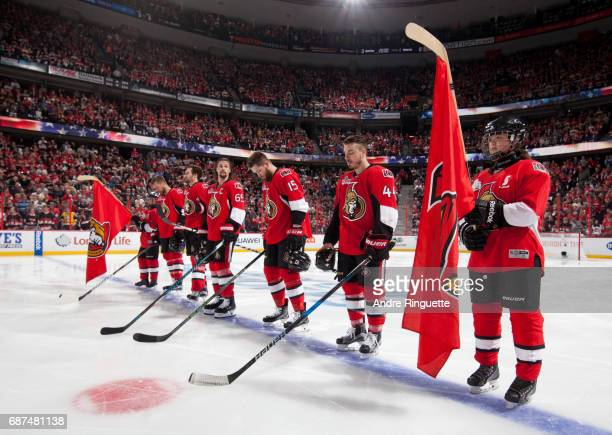 Scotia Skaters lineup on the blue line with the Ottawa Senators before taking on the Pittsburgh Penguins in Game Six of the Eastern Conference Final...