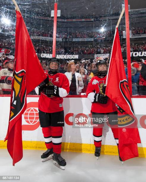 Scotia Skaters welcome the Ottawa Senators to the ice before taking on the Pittsburgh Penguins in Game Six of the Eastern Conference Final during the...