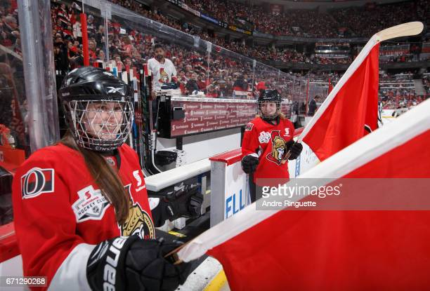 Scotiabank Skaters stand by the players' bench for player introductions prior to the Ottawa Senators playing against the Boston Bruins in Game Five...