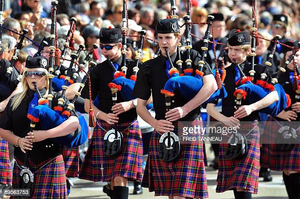 Scotish musicians of the Methil Pipe Band parade playing bagpipes on August 2 2009 in Lorient western France during the celtics nations Great Parade...