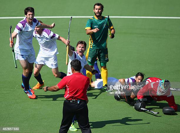 Scotish players protest after a diallowed goal during the Mens Hockey match between South Africa and Scotland at Glasgow National Hockey Centre...