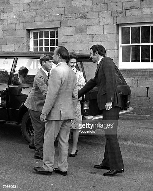 Scotland 11th September 1973 Prince Andrew is greeted along with his mother Queen Elizabeth II of Great Britain as he arrives to start school at...